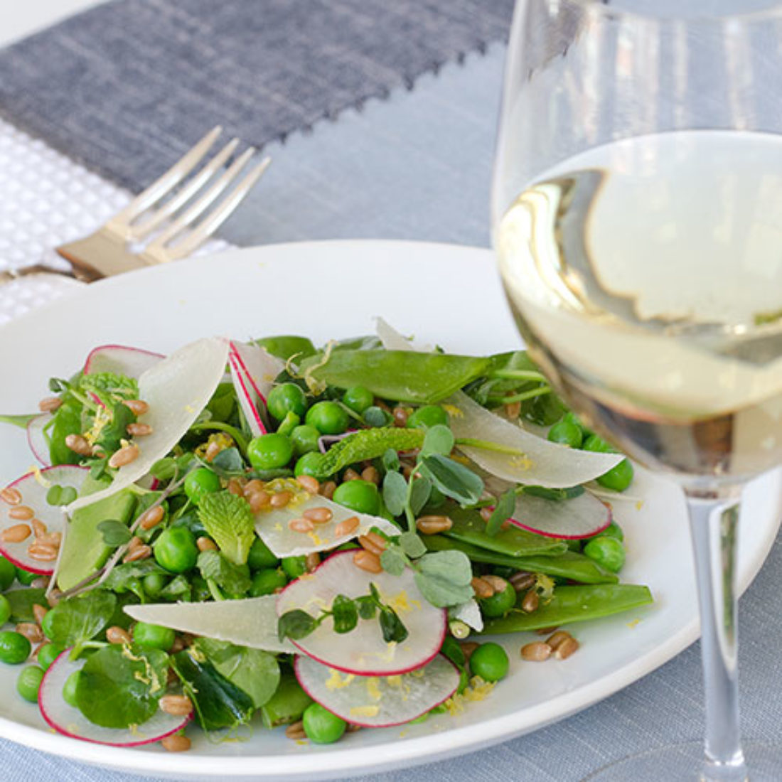 Farmers Market Pea Salad with Shaved Pecorino Romano
