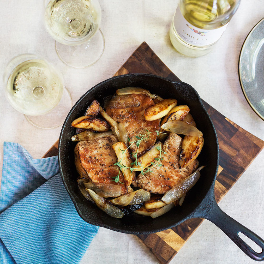 Pan Roasted Pork Chops with Apples and Onions