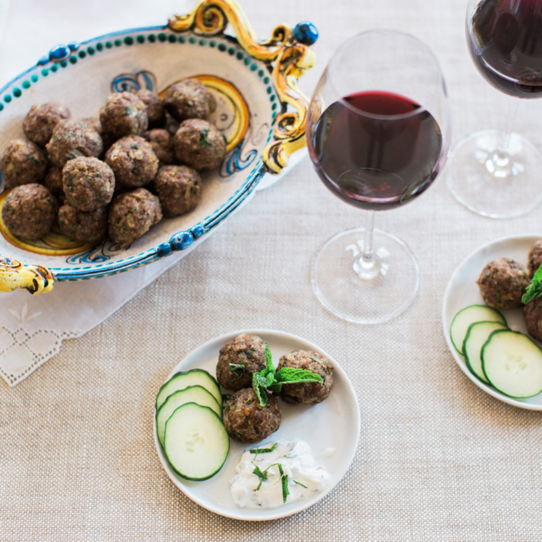 Mediterranean Lamb Meatballs with Savory Herb Yogurt Dip
