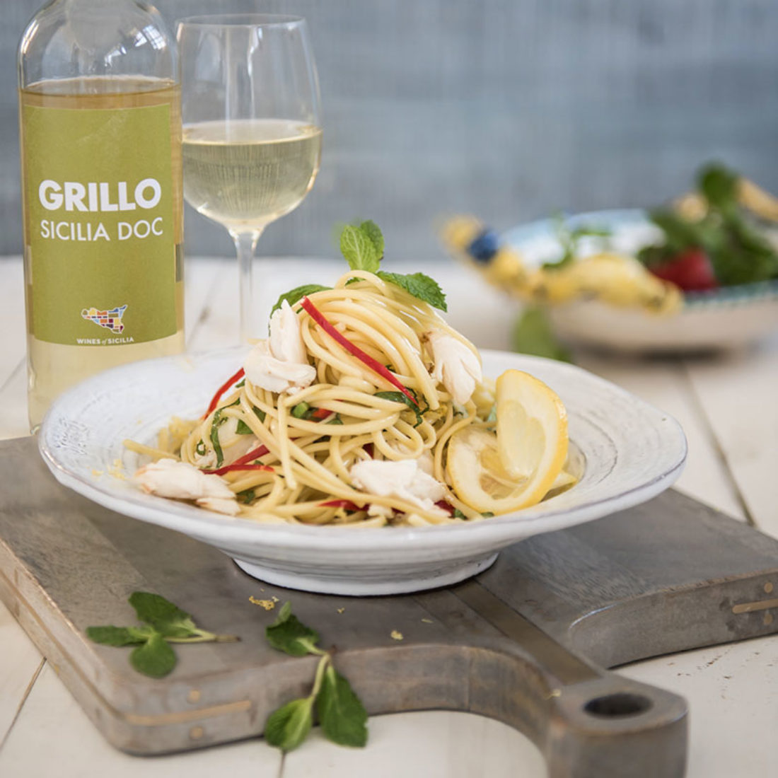 Lemon Crab Linguini with Chili and Mint - Wines of Sicily